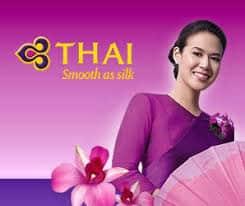 Thai Airlines Hostess wearing Thai Silk Clothing