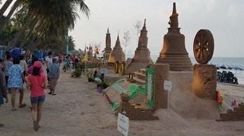 beach sand songkran festival thai new year