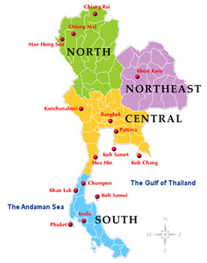 Rearranging The Thailand Accommodation Thread - Thailand regions map