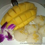 Mango with sticky rice - learn more about Thai culture with Thai Language Hut school