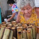 Old Lady Preparing Khao Lam |  Thai Culture
