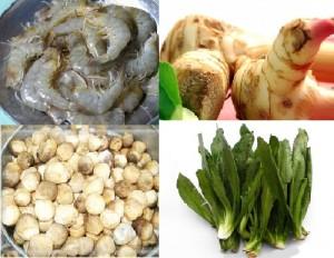 Shrimp, galangal, mushroom, Thai parsley