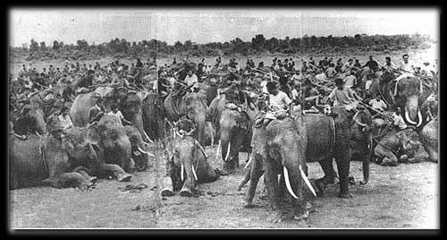 Kuy people and their elephant assembly at Ta Glaang village in 2498 (1955).
