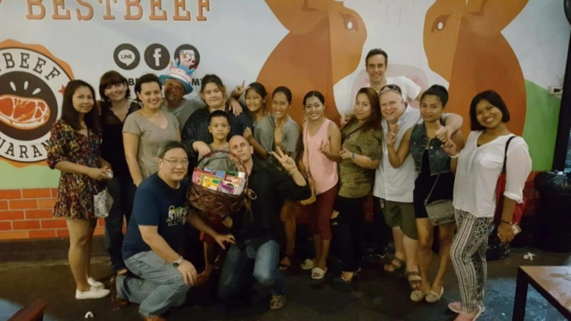 student teacher party at Best Beef Bangkok practising Thai and English language skills