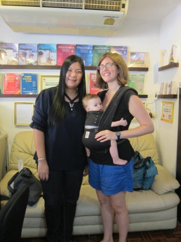 Teacher Jang meeting her American Thai student and young baby