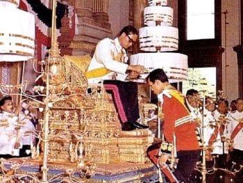 Thai King Rama IX Blessing his son Prince now King Rama X
