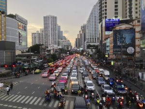 traffic jam thai language road street